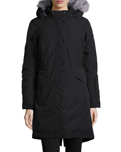 The North Face Snap-Front Hooded Faux-Fur-Trim Parka Jacket
