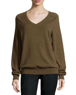 Cashmere Raglan V-Neck Sweater