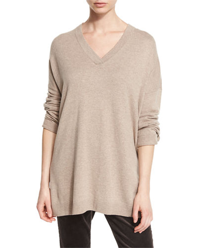 Long-Sleeve Oversized Wool Tunic