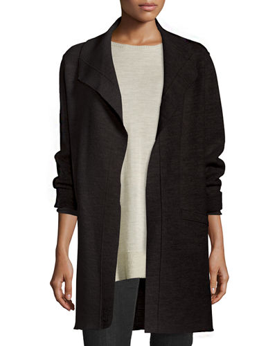 Boiled Wool Funnel-Neck Coat