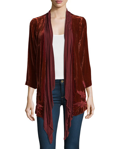 Bellina Velvet Embroidered-Back Handkerchief Cardigan, Plus Size