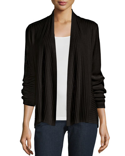 Eileen Fisher Silk/Organic Cotton Ribbed Cardigan, Petite