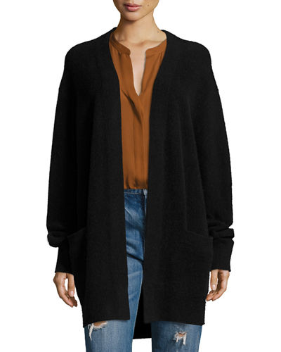 Boiled Cashmere Open-Front Long-Line Cardigan