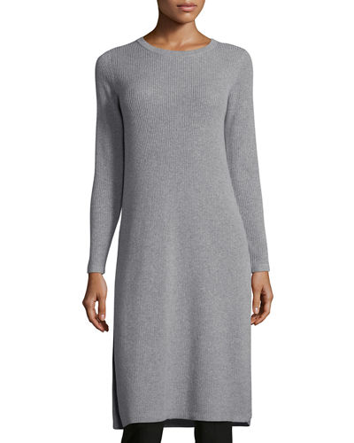 Long-Sleeve Ribbed Cashmere Drama Tunic