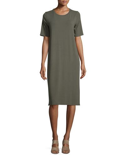 Eileen Fisher Short-Sleeve Round-Neck Jersey Dress