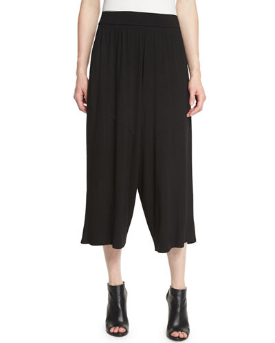 Cozy Jersey Wide-Leg Cropped Pants