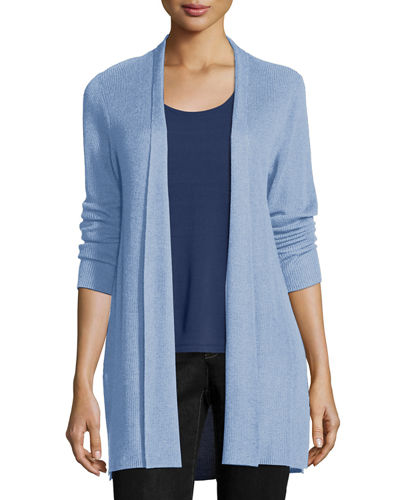 Sleek Ribbed Long Cardigan, Morning Glory