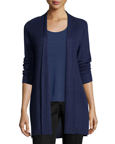 Eileen Fisher Sleek Ribbed Long Cardigan, Plus Size