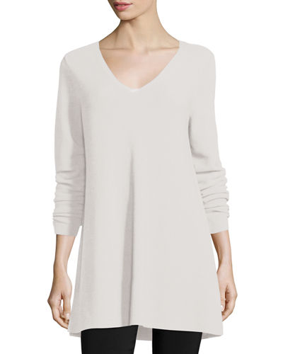 Crisp Cotton Links Long-Sleeve V-Neck Tunic, Plus Size