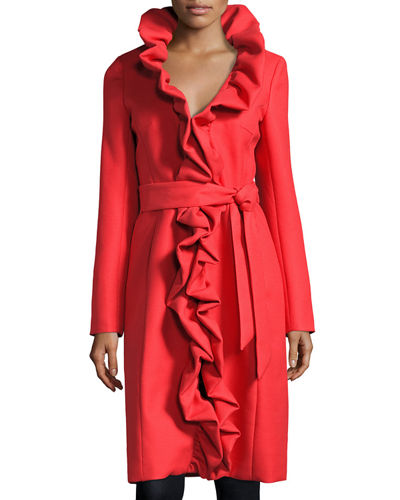 Long Ruffled Twill Coat