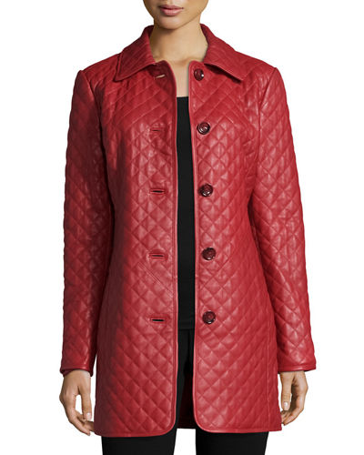 Quilted Long Leather Jacket, Plus Size