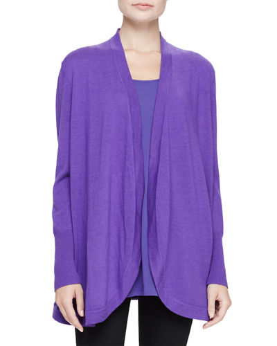Merino Jersey Long Cardigan, Plus Size