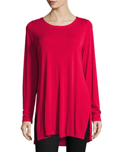 Silk Jersey Long-Sleeve Tunic