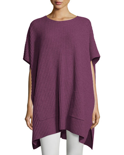Cashmere Ribbed Easy Poncho Sweater