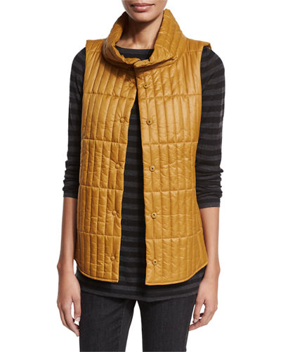 Quilted Stand-Collar Vest, Plus Size