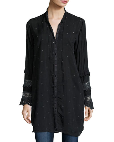 Long-Sleeve Pintucked Button-Front Tunic
