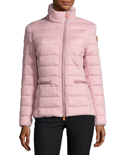 Funnel-Neck Asymmetric-Zip Puffer Jacket
