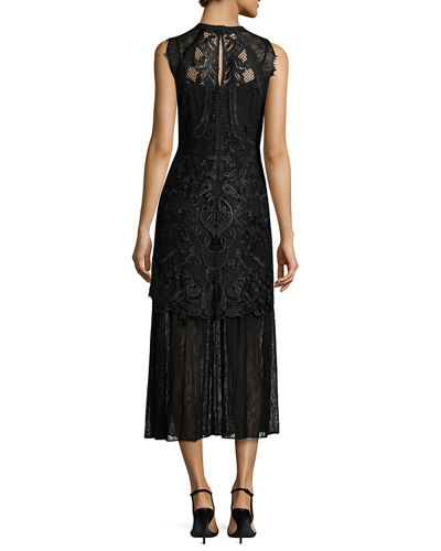Sleeveless Embroidered Lace Midi Dress