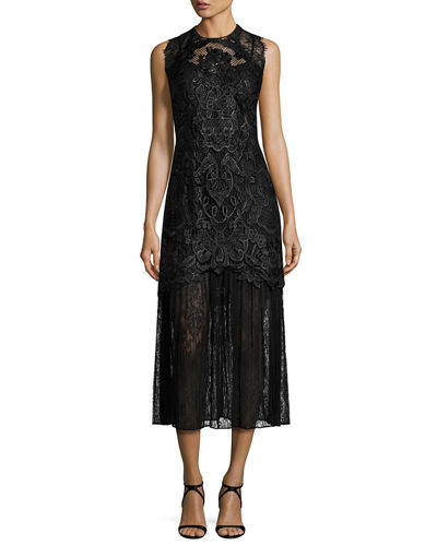 Kobi Halperin Sleeveless Embroidered Lace Midi Dress
