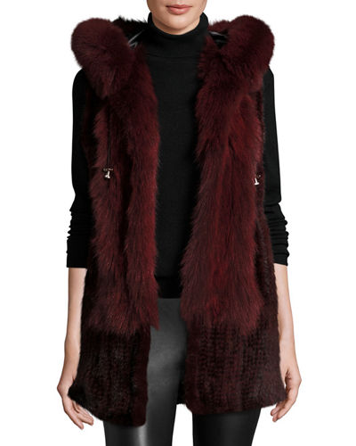 Belle Fare Hooded Mink Fur Vest w/ Fox