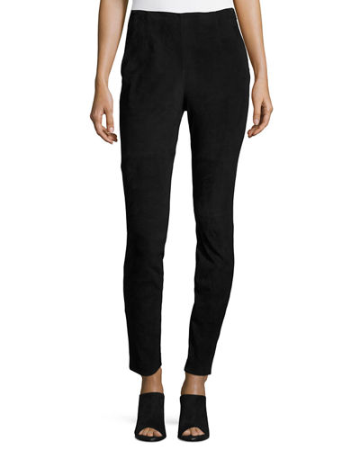 Neiman Marcus Stretch Suede & Ponte Biker Leggings
