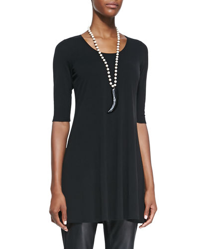 Half-Sleeve Silk Jersey Tunic, Plus Size