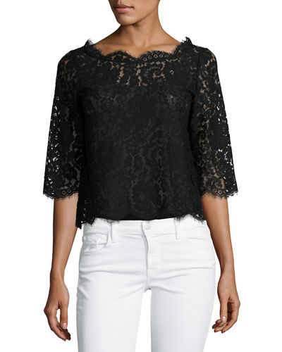 Elvia Scalloped Lace Crop Top, New Moon