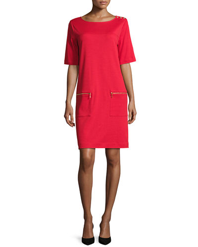 Joan Vass Short-Sleeve Cotton Zip-Pocket Dress, Plus Size