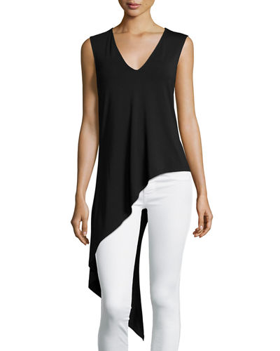 Sleeveless Asymmetric V-Neck Top