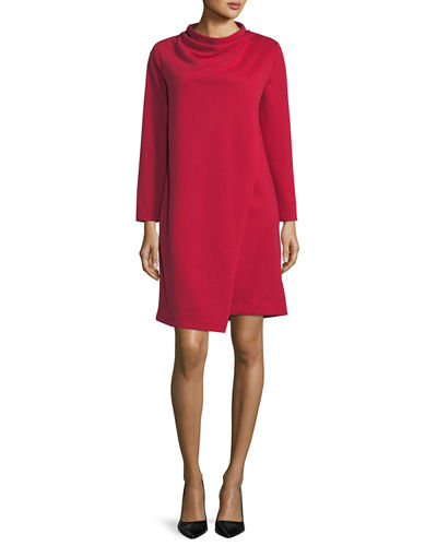 Long-Sleeve Drape-Front Knit Dress