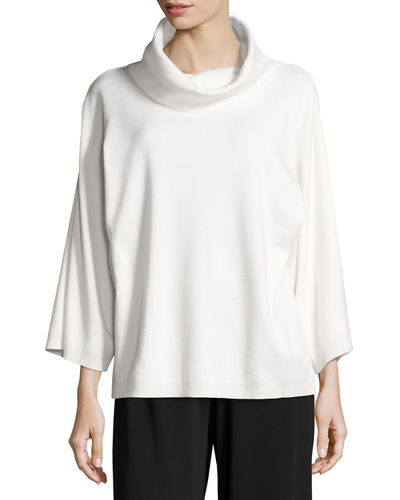 Cowl-Neck Boxy Cotton Top, Plus Size
