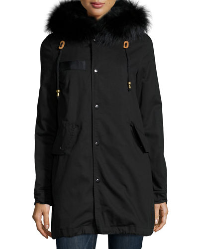 Belle Fare Hooded Fox-Trim Microfiber Parka