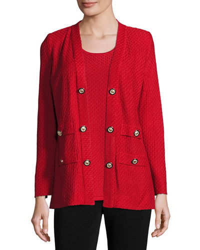 Textured Straight-Cut Knit Jacket, Classic Red, Plus Size