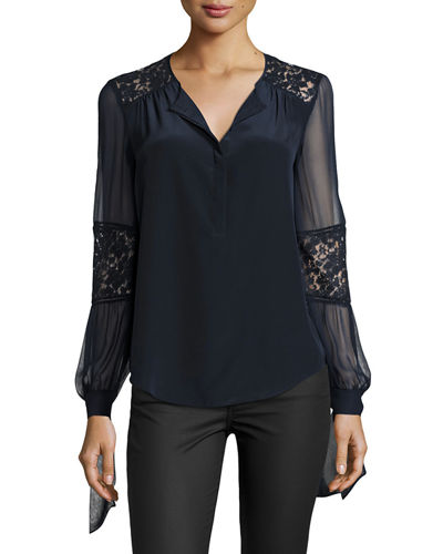Sarah Silk Lace-Panel Top