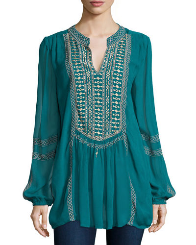 Lauren Embroidered Chiffon Tunic, Plus Size