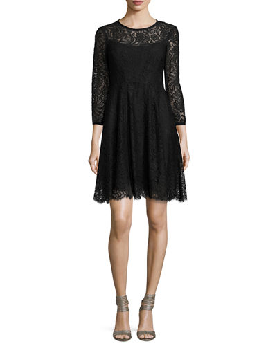 3/4-Sleeve Lace Swing Dress