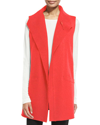 Boiled Wool Long Vest, Petite
