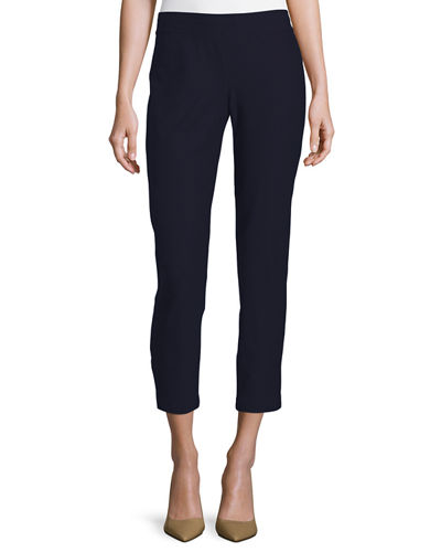 Washable Stretch-Crepe Ankle Pants, Midnight, Petite