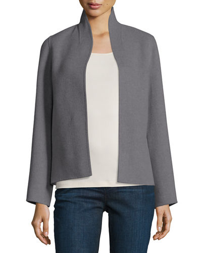 Brushed Wool Double-Faced Jacket, Ash