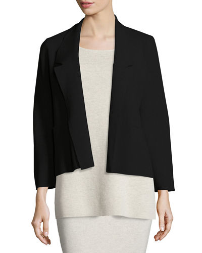 Washable Wool Short Boxy Jacket, Plus Size