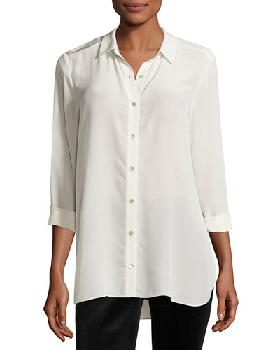 Long Essential Silk Crepe Shirt, Petite