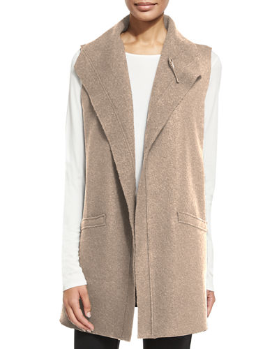 Boiled Wool Long Vest, Plus Size