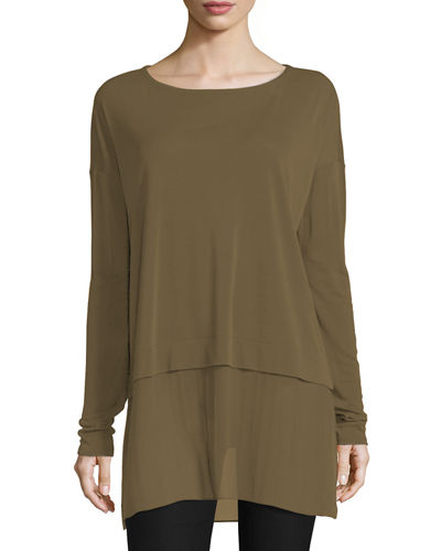 Sheer-Hem Bateau-Neck Boxy Tunic, Plus Size