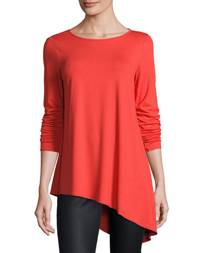 Lightweight Round-Neck Draped Top