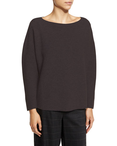 Seamless Cashmere Boat-Neck Sweater