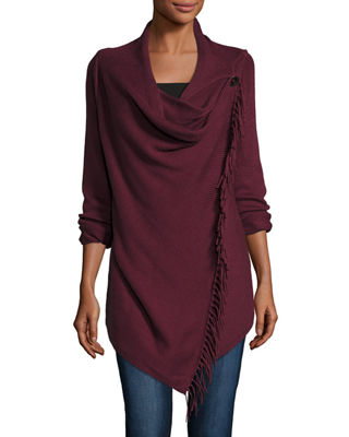 Cilantro Fringe Draped Cardigan Compare Price