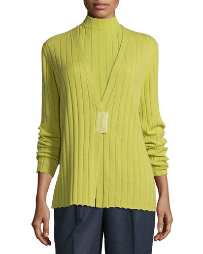 Ribbed Cashmere V-Neck Magnet-Close Cardigan, Plus Size