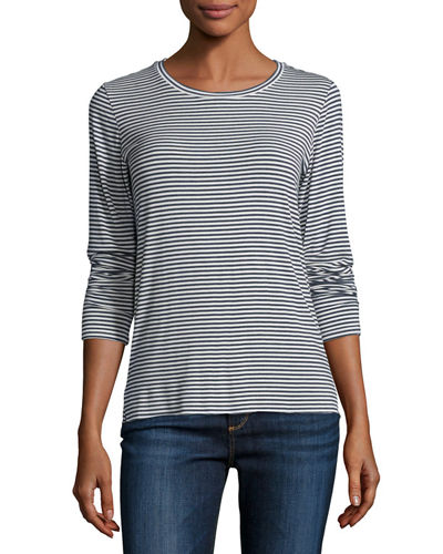 Soft Touch Long-Sleeve Striped Crewneck Top