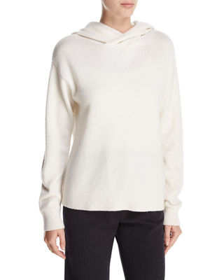 Crossover Cashmere-Wool Hoodie Sweater