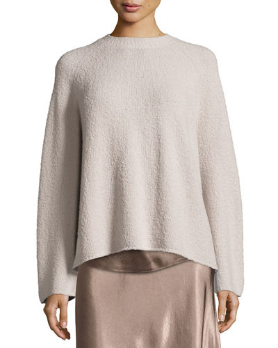Ladder-Stitched Funnel-Neck Cashmere-Blend Sweater